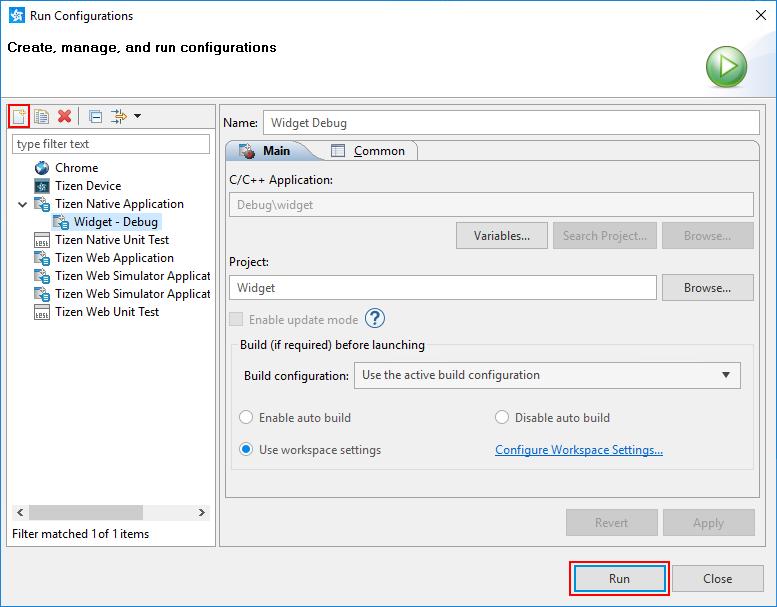 Run Configurations window