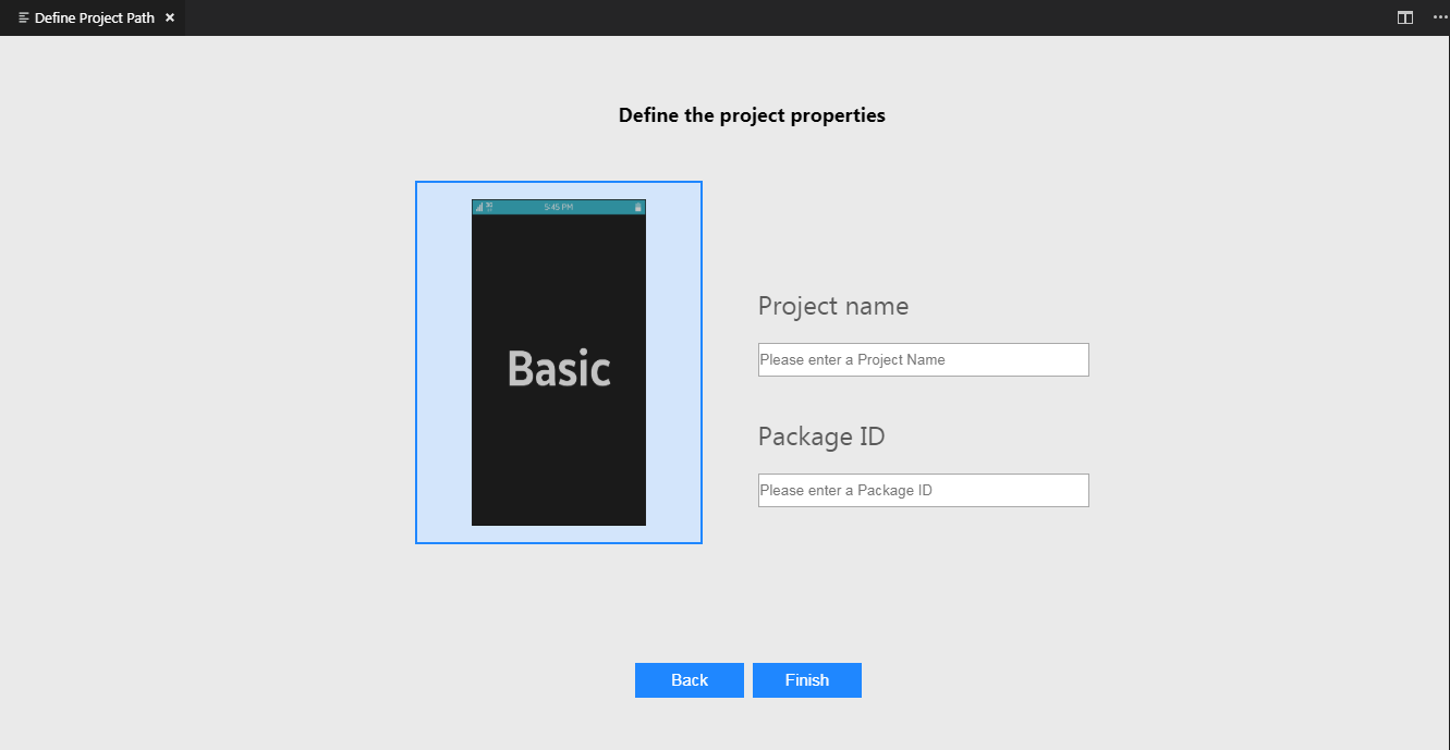 Enter the name of project