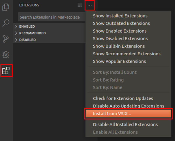Install from VSIX