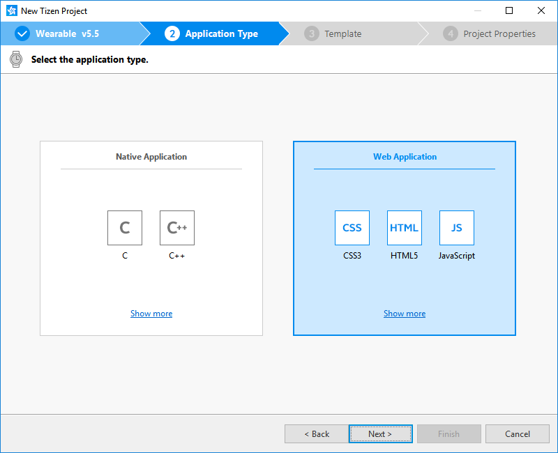 Selecting the application type